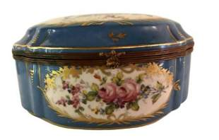 Floral Decorated Celeste Blue Casket Box
