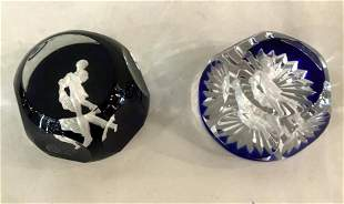 Pair of Blue Crystal Baccarat Art Glass Paperweight
