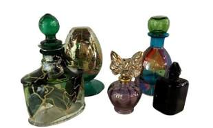 2 Signed & Assorted Vases or Perfumers , Art Glass