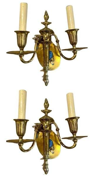 Pair of Louis XVI Style Brass Wall Sconces (434-11)