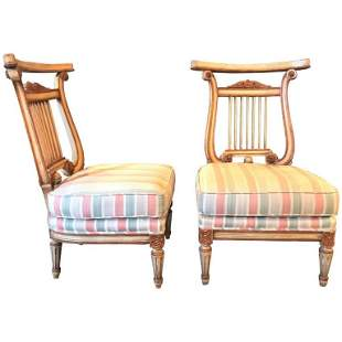 Pair Paint & Gilt French Lyre Back Side Chairs
