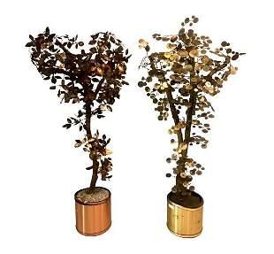 Pair of Mid-Century Modern Curtis Jere Brutalist Trees