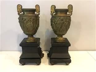 Pair of Bronze Figural Urns
