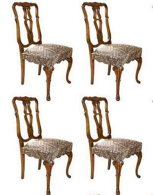 Set of 4 Queen Anne Styled Dining Chairs