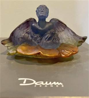 Signed Daum Pate Vere-Angel French Art Glass Dish