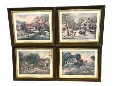 Set of 4 Currier & Ives Prints