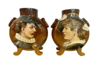 Pair of Pictorial Vase Signed E. Thomas