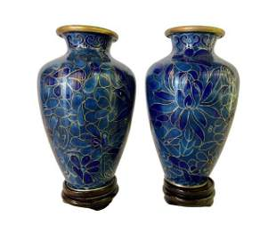 Pair of Chinese Cloisonne Vase on Stand
