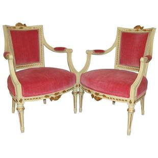 Pair of Carved Fauteuils by Gustavian Side Chairs