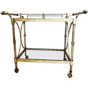 Hollywood Regency Two-Tier Serving Cart