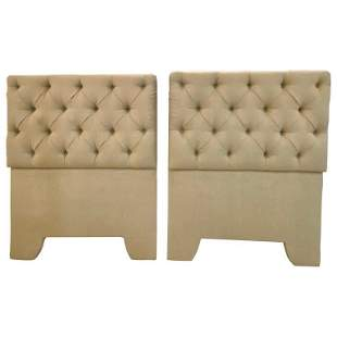 Pair of Tufted Linen Twin Headboards