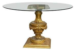 Louis XVI Style Glass Top Carved Gilt Center Table