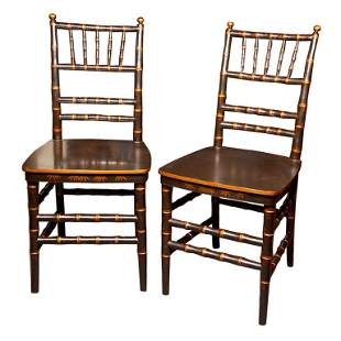 Pair of Chinoiserie Faux Bamboo Side Chairs