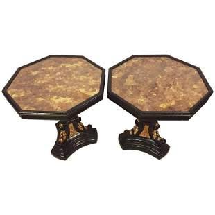Pair of Gilt Glass Top Ebonized and Gilt End Table