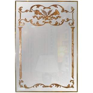 Louis XVI Style Etched Glass Wall Mirror