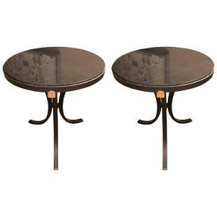Pair of Marble-Top Iron Base End Tables