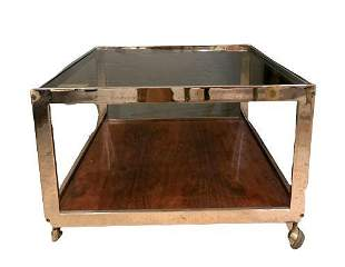 Mid Century Modern Coffee Table Rosewood and Chrome