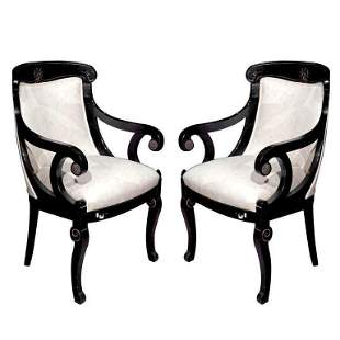 Pair of Hollywood Regency Style Ebonized Armchairs
