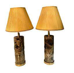 Pair of Brass Marble Lamps