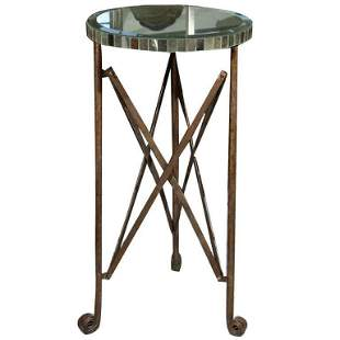 Decorative Circular Mirror Top Side Table or Pedestal