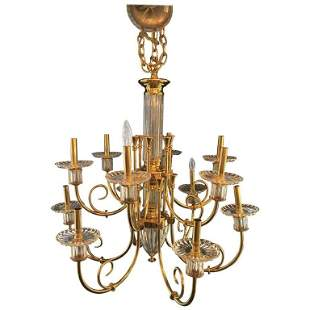 Custom 12-Light Bronze and Cut Crystal Chandelier
