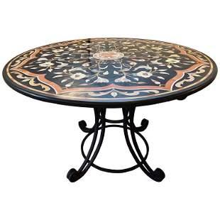 Pietra Dura Stone Inlaid Round Center Dining Table