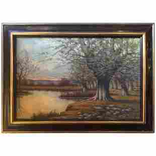 Oil on Canvas Painting of a Lake Landscape Signed