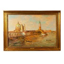 Oil Painting of Venice Harbor - Signed T L Novaretti