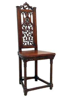 Gothic Style Carved Oak Side Chair