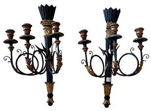 Pair of Ebony and Gilt Federal Style Wall Sconces