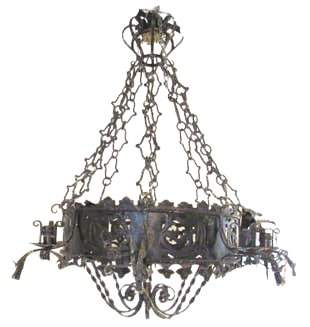 Large Ebonized Wrought Iron Chandelier