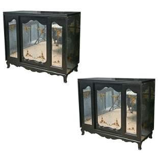 Jansen Style Pair John Stuart Eglomise Ebony Cabinets