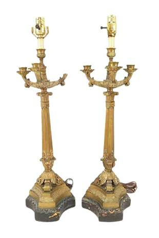 Pair French Bronze 19th Century Candelabra Lamps