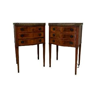 Hepplewhite Style Pair Mahogany End Tables
