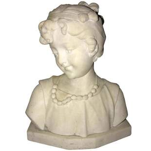 Signed - Marble Miniature of Young Girl