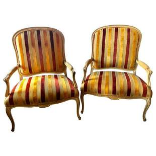 Pair Hollywood Regency Louis XV Style Chairs Marquees