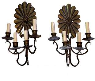 Pair of Floral Four Arm Brass Sconces