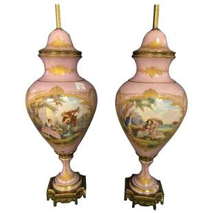 Pair of Old French Sevres Marked Lidden Urns MAL