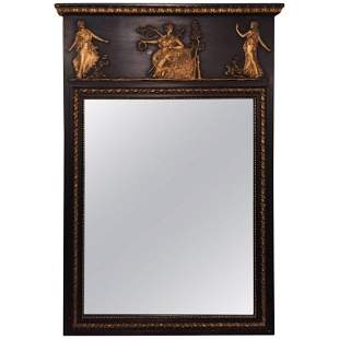 French Ebonized Neoclassical Style Wall Mirror