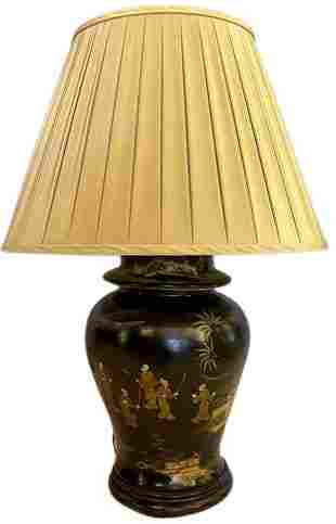 Chinoiserie Style Ebony Table Lamp