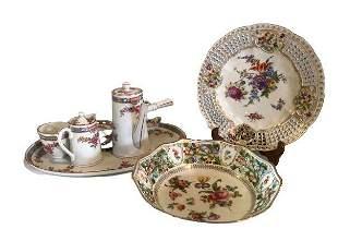 5 Piece MZ Tea Set & Floral Bavaria Plate Set