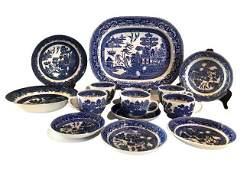 14 Piece Willow Pattern - Staffordshire Dish Set