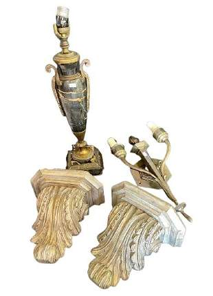 Group of 4 Marble & Wooden Decorative (29)