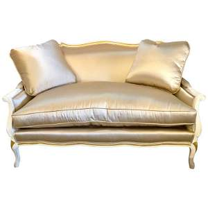 Gilt and Paint Decorated Satin Settee / Love Seat