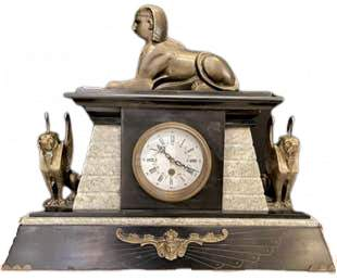 Egyptian Bronze and Marble Mantle Clock
