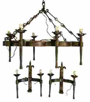 Gothic Wrought Iron Chandelier & Matching Sconces