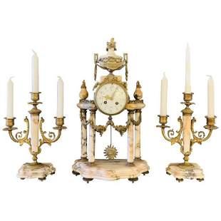 Alabaster and Bronze Clock Garniture Set