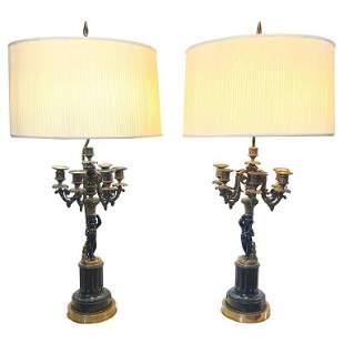 Pair of Antique Bronze Cherub Candelabra Lamps