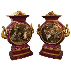 Signed G. Bauer Pair of Urns Mounted as Lamps
