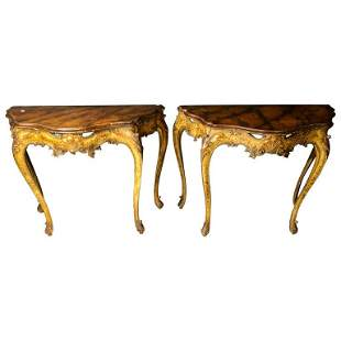 Pair of Console Tables Italian Paint Decorated
